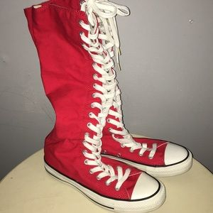 Knee high converse red